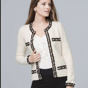 WHBM Faux Pearl-Detail Sweater Jacket, XS